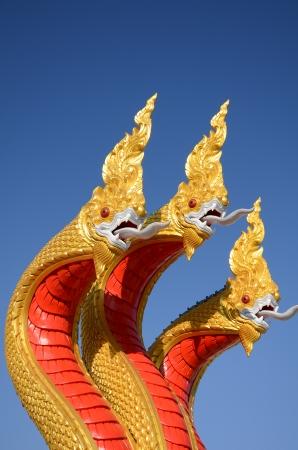 Thai dragon, King of Naga statue with three heads in Thailand photo