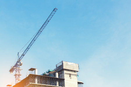 High New building under construction with blue sky. Stock Photo - 78351866