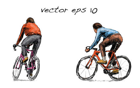 Sketch of cyclist riding fixed gear bicycle on street, illustration vector