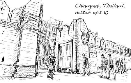 sketch of cityscape show aisa heritage Tha Phae gaet in Chiangmai Thailand, illustration vector 矢量图片