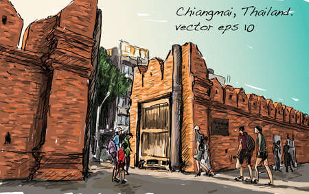 Schets van cityscape show aisa erfgoed Tha Phae gaet in Chiangmai Thailand, illustratie vector Vector Illustratie
