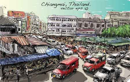 sketch of cityscape show asia style trafic on street and building in Thailand, illustration vector