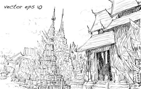 lanna: Sketch cityscape of Thai temple show asia style, illustration vector