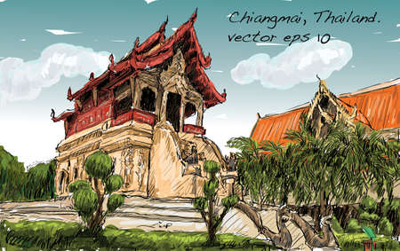 sketch of cityscape show asia style temple space in Thailand, illustration vector Illustration