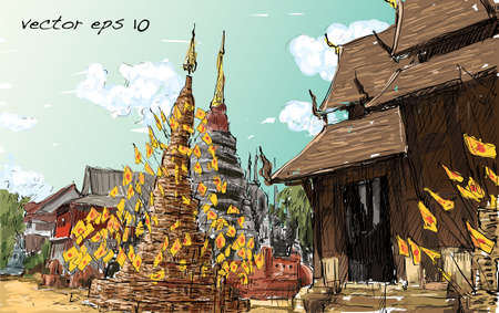 Sketch cityscape of Thai temple show asia style, illustration vector