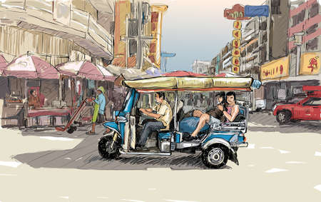 Sketch cityscape of Chiangmai, Thailand, show local motor tricycle Tuk on street, illustration vector Illustration