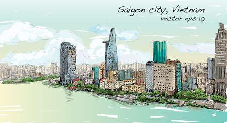 Sketch cityscape of Saigon city ( Ho Chi Mihn ) Vietnam show skyline and building, illustration vector