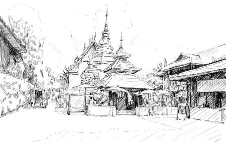 lanna: Sketch cityscape of Chiangmai, Thailand, show local temple Wat Doung Dee, illustration vector