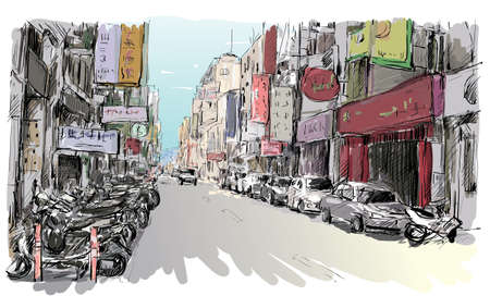 Sketch of cityscape in Taiwan show urban street view market in Taipei, illustration vector