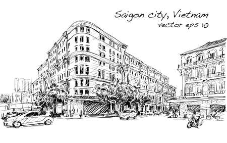horizental: Sketch cityscape of Saigon city (Ho Chi Minh) show Union Square and Hotel Continental- modern and classic building, illustration vector