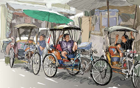 townscape: Sketch cityscape of Chiangmai, Thailand, show local tricycle and people, illustration vector