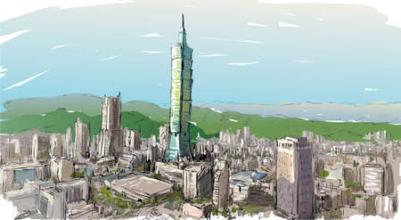 sketch of cityscape show townscape in Taiwan, Taipei building, illustration  vector 矢量图像