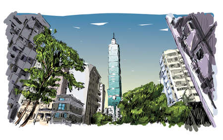 townscape: sketch of cityscape show urban street view in Taiwan, Taipei building, illustration vector Illustration