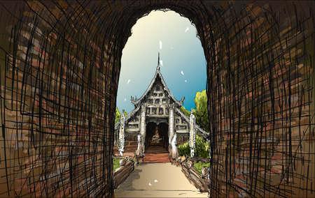 lanna: Sketch cityscape of Chiangmai, Thailand, show local temple Wat Lokmolee, illustration vector