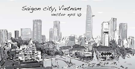 Sketch cityscape of Saigon city (Ho Chi Minh) show building capital in town, illustration vector