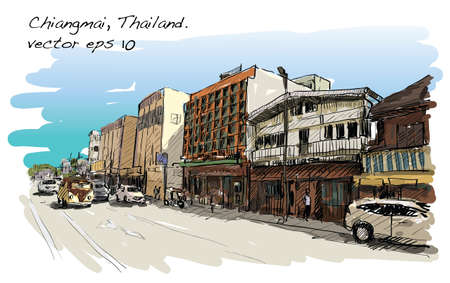 Sketch of cityscape show street and building in Chiangmai, Thailand, illustration vector Illustration
