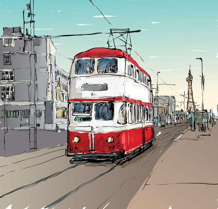 Sketch of cityscape show trasportation tradittonal tram in England, illustration vector