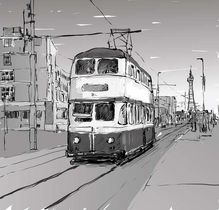 tramcar: Sketch of cityscape show trasportation tradittonal tram in England, illustration vector