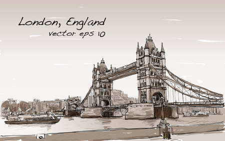 cityscape drawing sketch Tower Bridge, London, England in Sepia tone, illustration vector