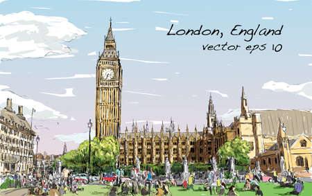 townscape: Sketch Cityscape of London The Big Ben and houses of parliament with peoples at public space, illustration