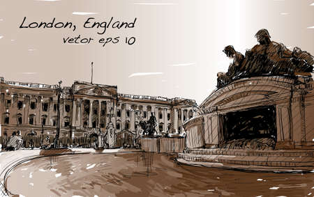 Sketch cityscape of London England.