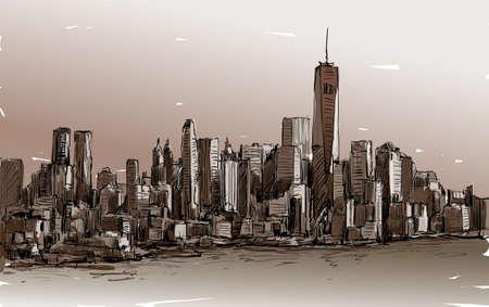 Croquis de cityscape à New York montrent Midtown de Manhattan avec des gratte-ciels, vector illustration