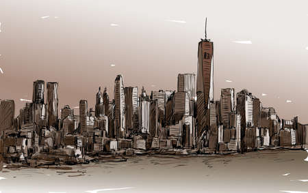 Sketch of cityscape in New York show Manhattan midtown with skyscrapers, illustration vector Illustration