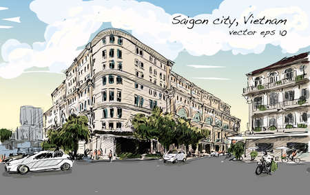chi: Sketch cityscape of Saigon city (Ho Chi Minh) show Union Square and Hotel Continental- modern and classic building, illustration vector