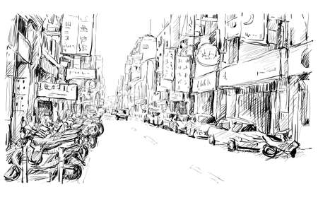 sketch of cityscape in Taiwan show urban street view market in Taipei, illustration vector Illustration