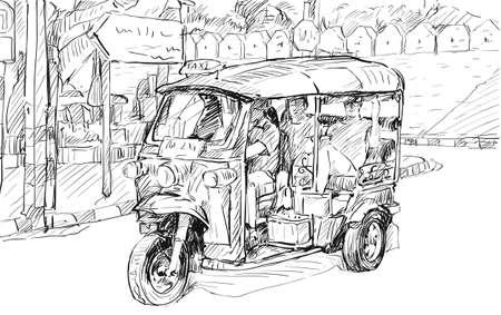 Sketch cityscape of Chiangmai, Thailand. Illustration