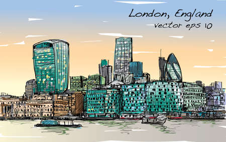 Sketch city scape in London England show skyline and building beside thames river, illustration vector