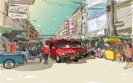 Sketch cityscape of Chiangmai, Thailand, show red car local transportation at market, illustration vector