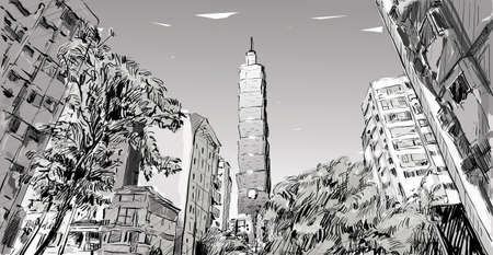 sketch of cityscape show urban street view in Taiwan, Taipei building, illustration vector Illustration