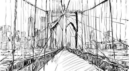 east river: Sketch of cityscape in New York show Brooklyn Bridge and building, illustration vector