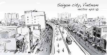 horizental: Sketch cityscape of Saigon city ( Ho Chi Mihn ) Vietnam show skyline and building, illustration vector