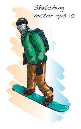catoon: Sketch of Snow board man riding, Winter Sport, Snowboarding collection, free hand draw illustration vector Illustration