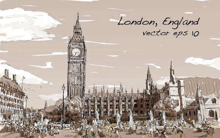 houses of parliament london: Sketch Cityscape of London The Big Ben and houses of parliament with peoples at public space in Sepia tone, illustration vector