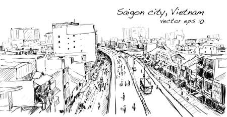 Sketch cityscape of Saigon city ( Ho Chi Mihn ) Vietnam show skyline and building, illustration vector