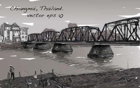Skizze der Stadtbild zeigen Eisen Brücke in Chiangmai Thailand, Abbildung Vektor