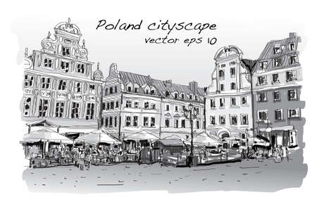 cityscape drawing sketch in Poland downtown  illustration vector