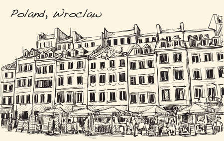 wroclaw: Sketch Cityscape of Poland, Wroclaw city ,free hand draw illustration vector
