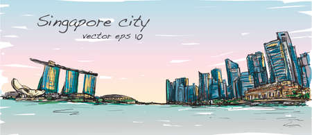 sketch city scape of Singapore skyline with Marina bay and building landscape, free hand draw illustration vector  イラスト・ベクター素材