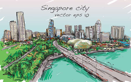 シンガポールのスカイライン、フリーハンド描画イラストのスケッチ都市景観