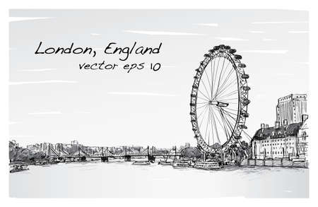 City scape drawing London eye and bridge, river, illustration vector Illustration