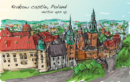 Sketch city scape Poland Krakow castle towers, free hand draw illustration vector Иллюстрация