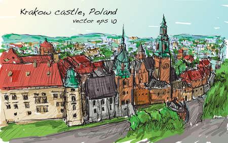 Sketch city scape Pologne Les tours de château de Cracovie, la main libre dessinent vecteur d'illustration Banque d'images - 74313237