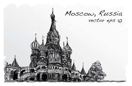 red square moscow: Landscape sketch, Moscow, Russia, Red square, free hand drawing illustration vector