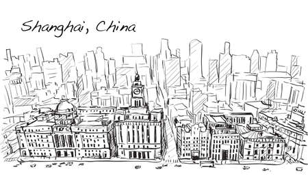 Sketch city scape of Shanghai, China, the building in downtown, free hand draw illustration vector Illustration