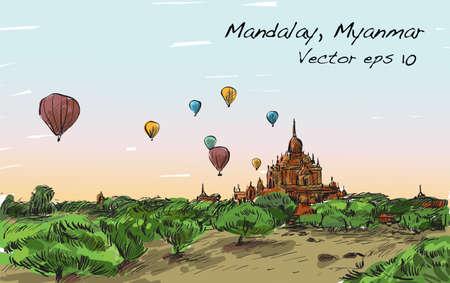マンダレー、Manmar、バガン、フリーハンド描画イラスト上空にバルーンを表示のスケッチ風景