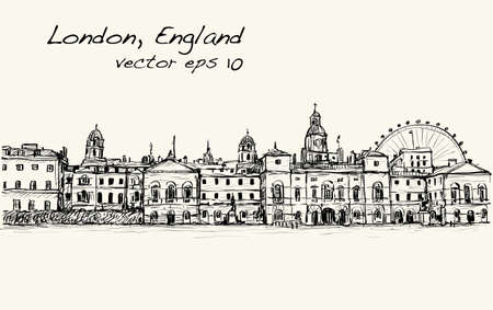 residental: City scape drawing in London, England, show old castle and carousel, illustration vector Illustration